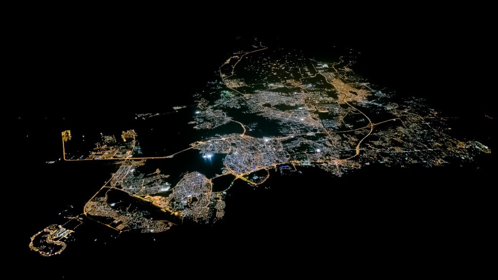 Bahrian, aerial image, city lights