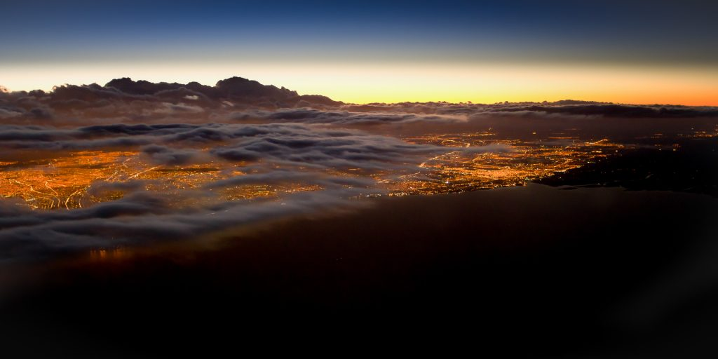 Buenos Aires, aerial image, dusk