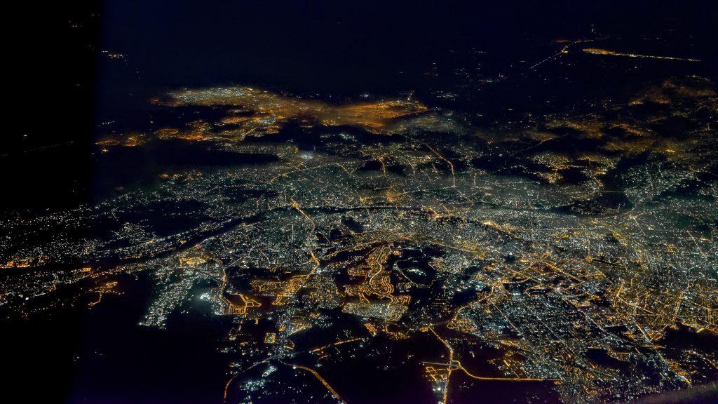 Cairo, aerial image, night, city lights