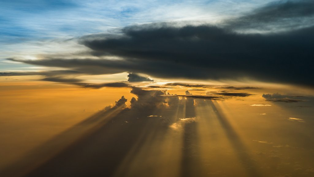 ceruscular rays, storm, aerial image, dawn