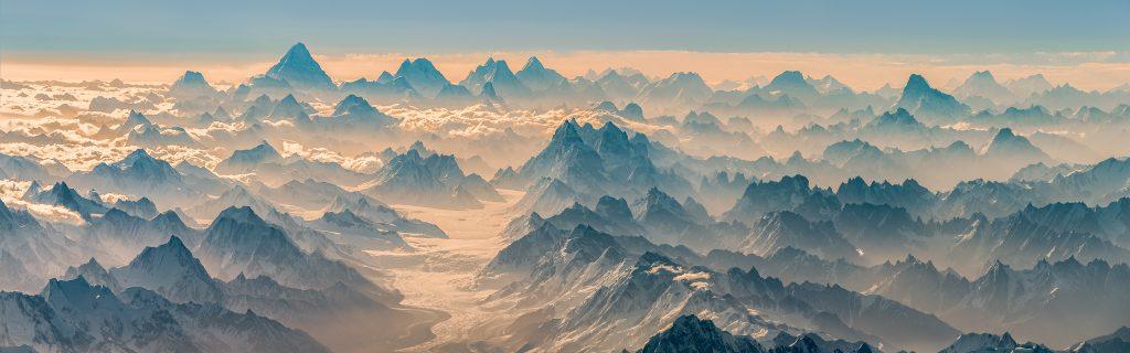 K2, Karakoram, Broad Peak, aerial panorama, Snow Lake