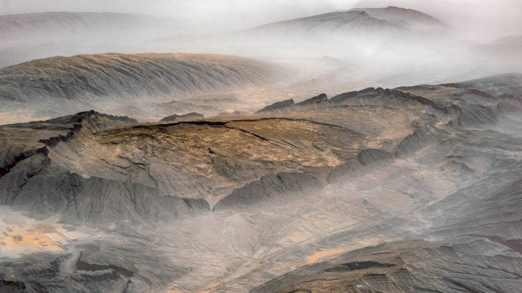 Oman, aerial image, infrared, rocks, mountains