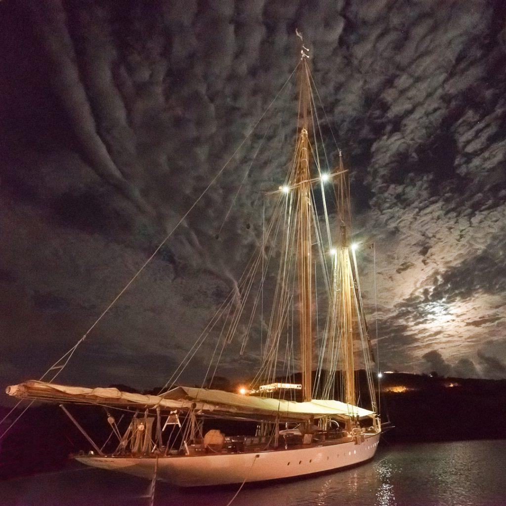 boat, yacht, Antigua, moonlight