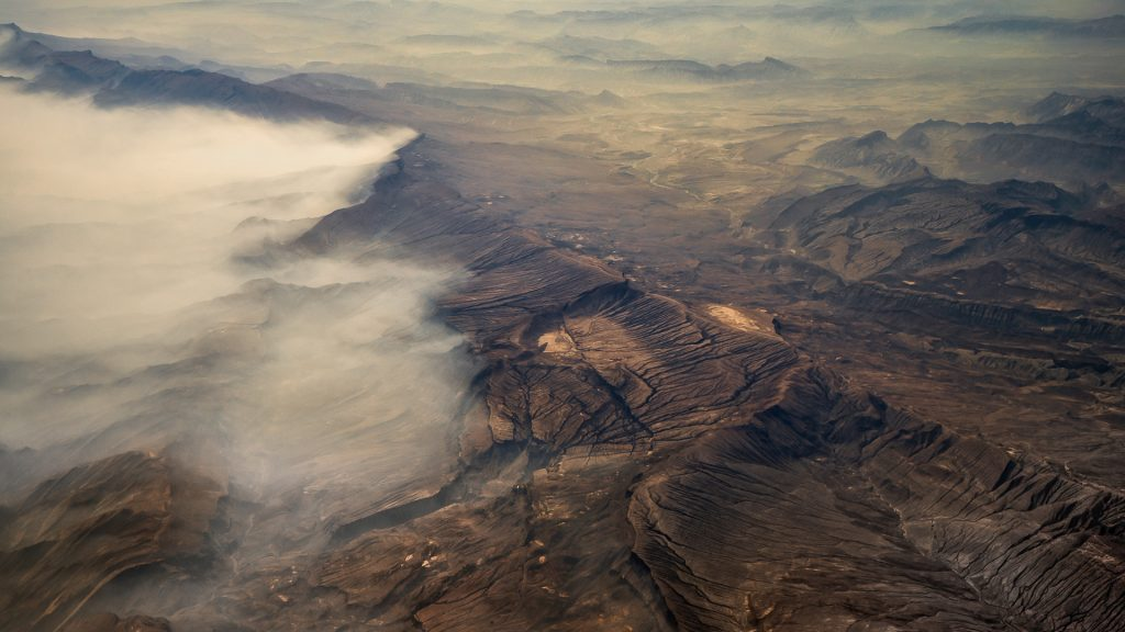 Pakistan, aerial image, orographic clouds, desert