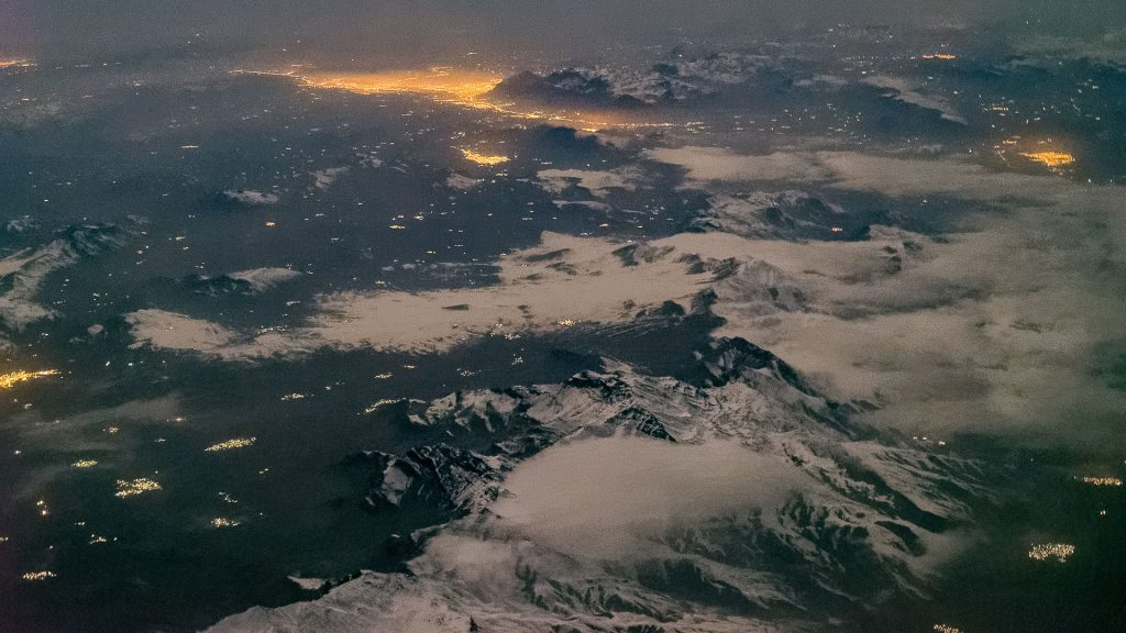 aerial image, night, Iran, moonlight