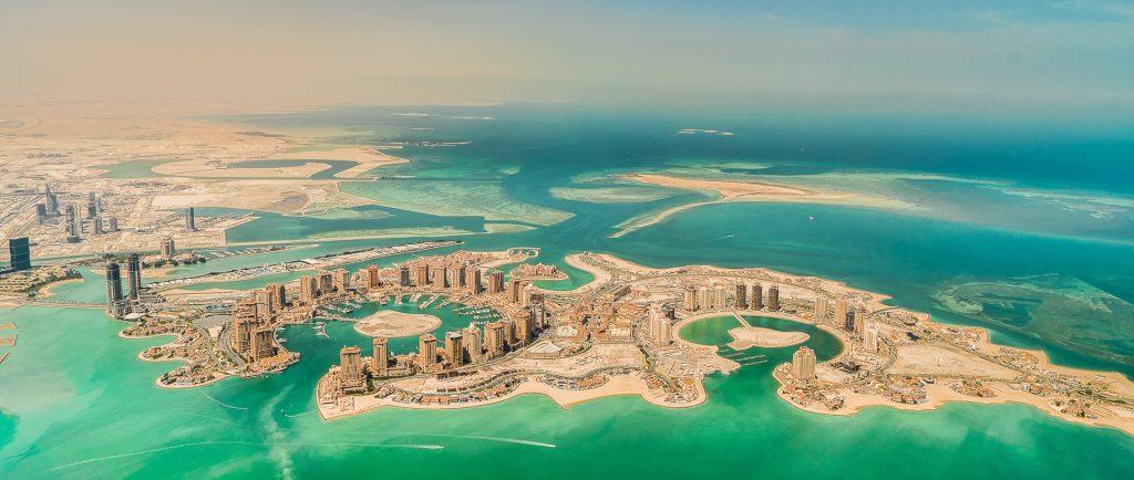 Qatar, aerial image, Doha, Pearl, reclaimed land