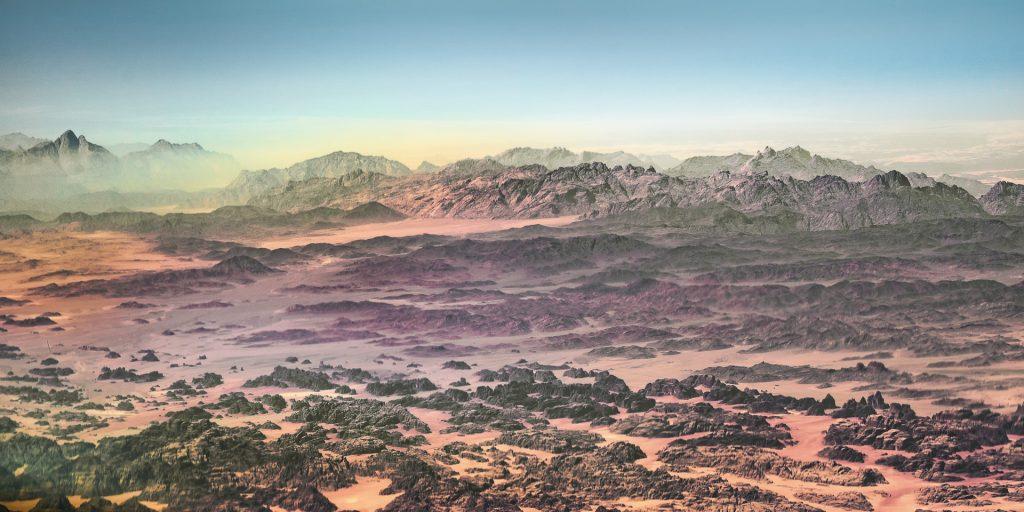 Saudi Arabia, aerial image, mountains, desert
