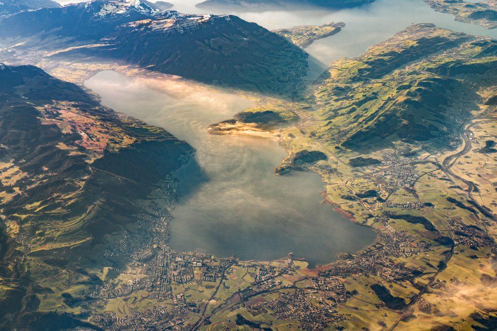 Lake Zug, Zugersee, Alps, Switzerkand, aerial image