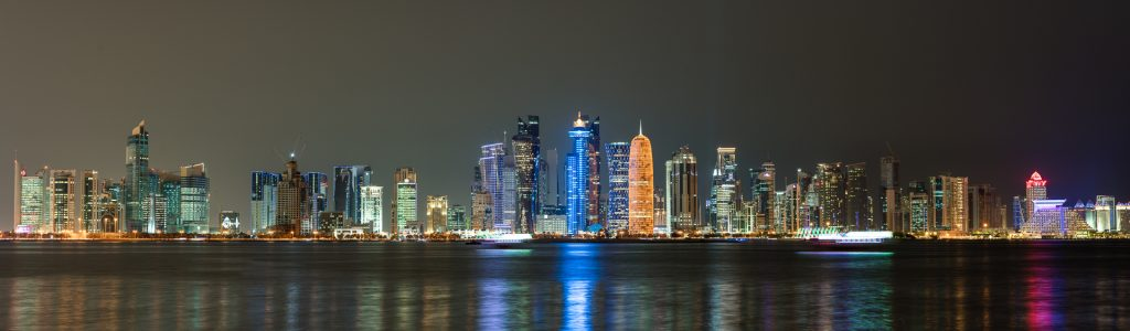 Doha, Qatar, night, panorama, West Bay