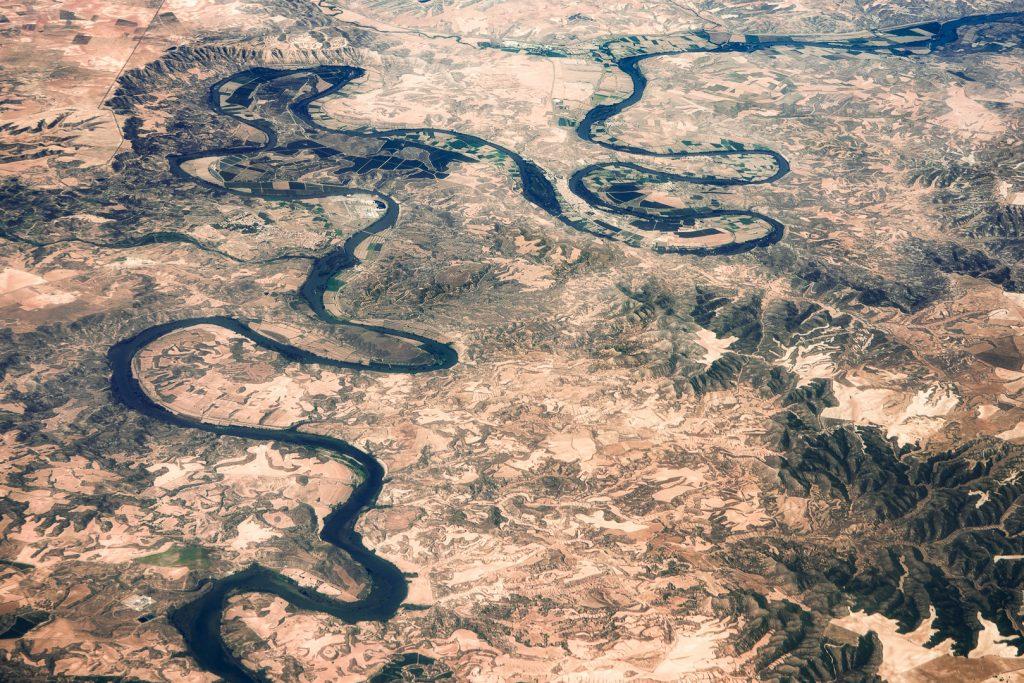 Ebro River, Spain, aerial image