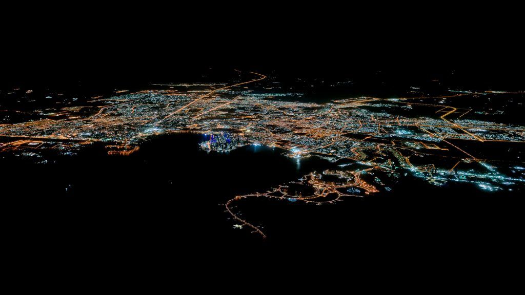 Doha, Qatar, aerial image, night, city lights
