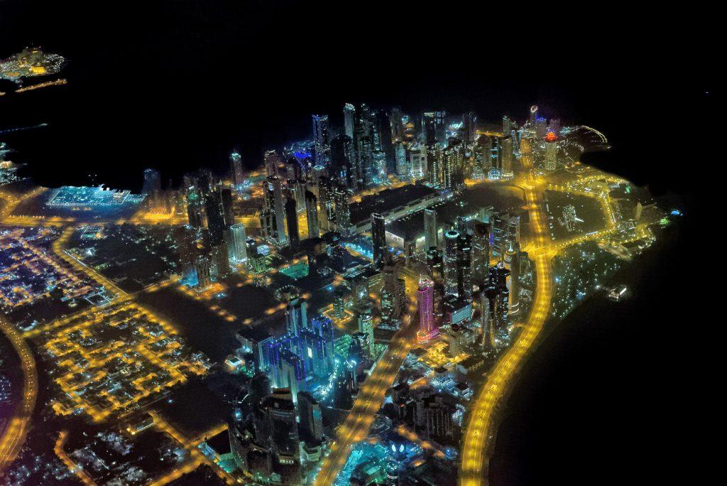 Doha, night, aerial image, West Bay, Qatar