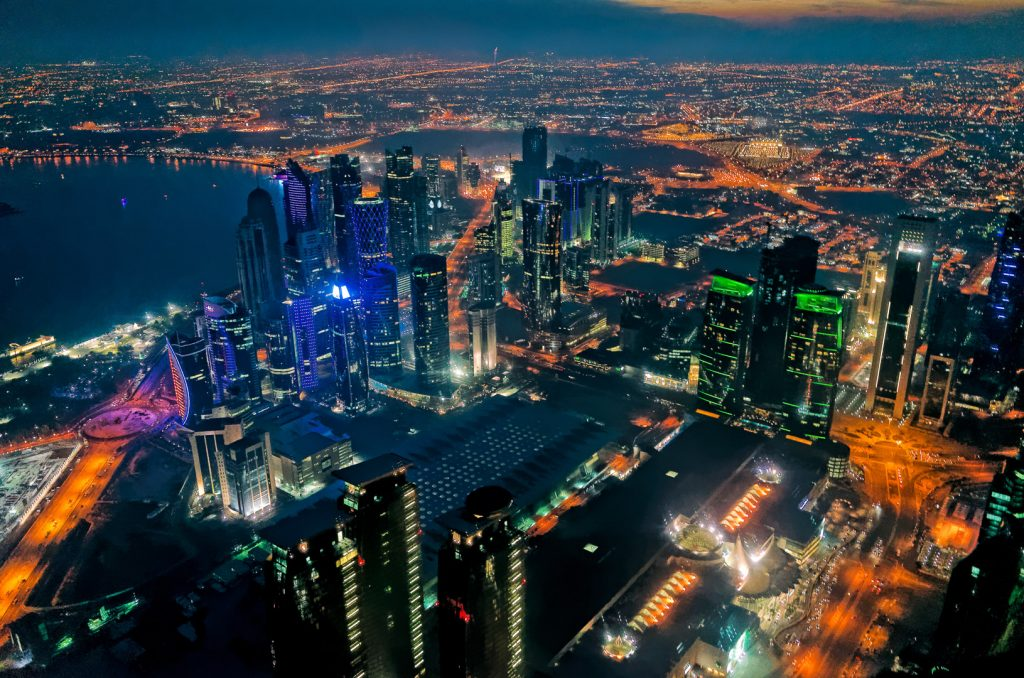 Doha, colur, night, Qatar, West Bay, cityscape, aerial image