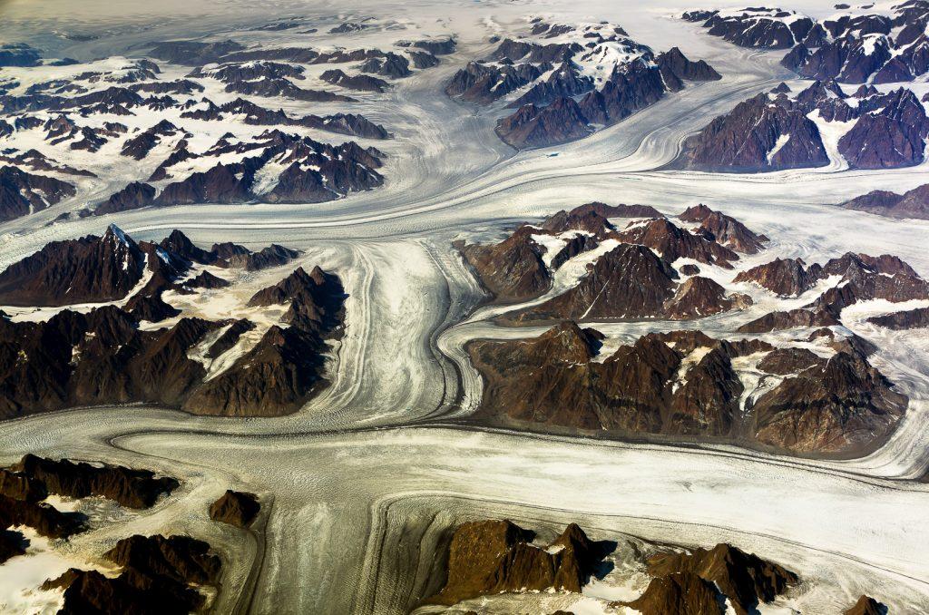 Glaciers, Semersooq, Greenland, aerial image