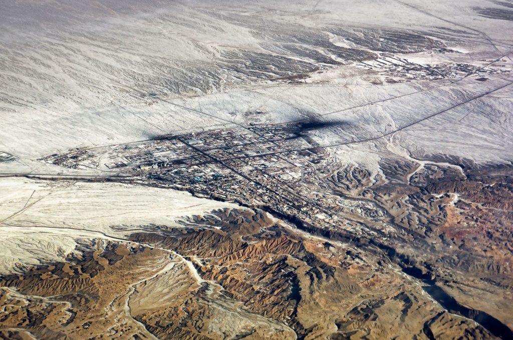 aerial image, Xinjiang, Tibet, China, town