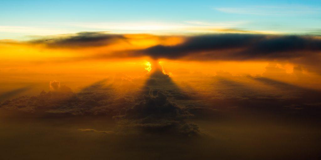 thunderstorm, dawn, sunrise, aerial image
