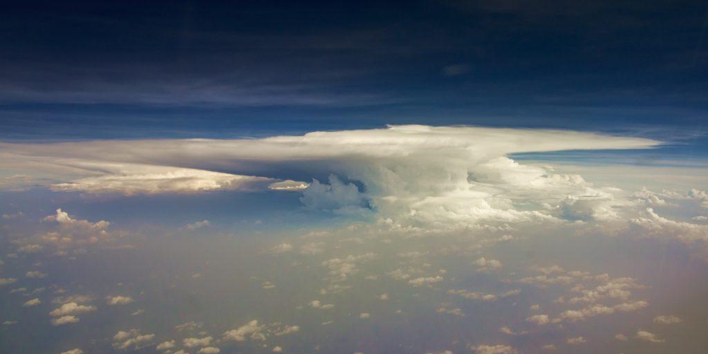 thunderstorm, cumulo nimbus, aerial image, monsoon