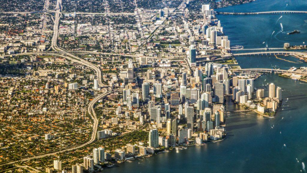 Miami, aerial image, coast, Florida