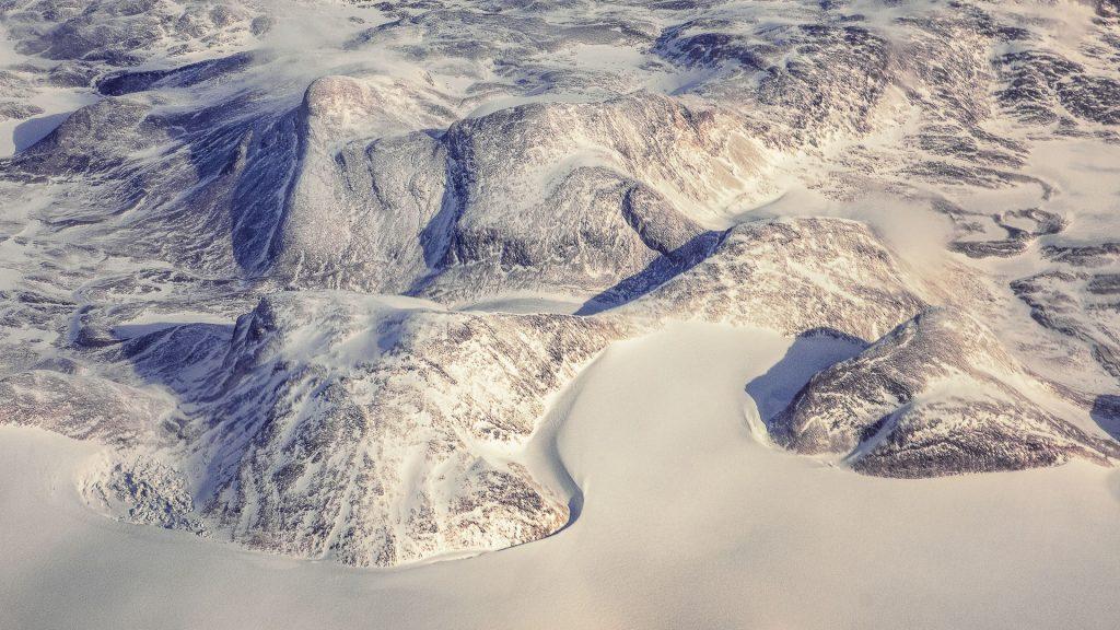 Greenland, aerial image, snow, ice