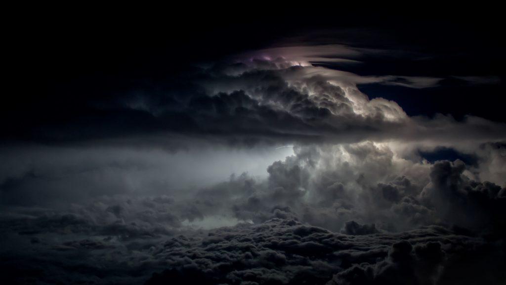 thunderstorm, night, monsoon, Bay of Bengal, aerial image