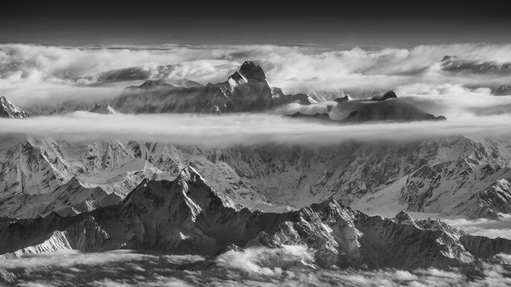 Kunyang Chish, Karakoram, infrared, 720nm, mountains, aerial image