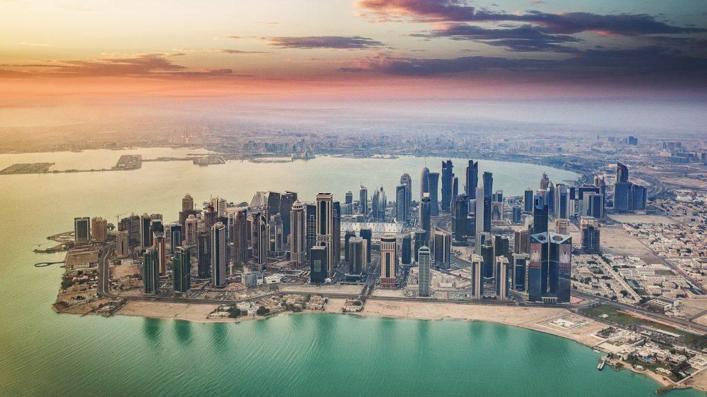 Doha, dusk, aerial image, Qatar