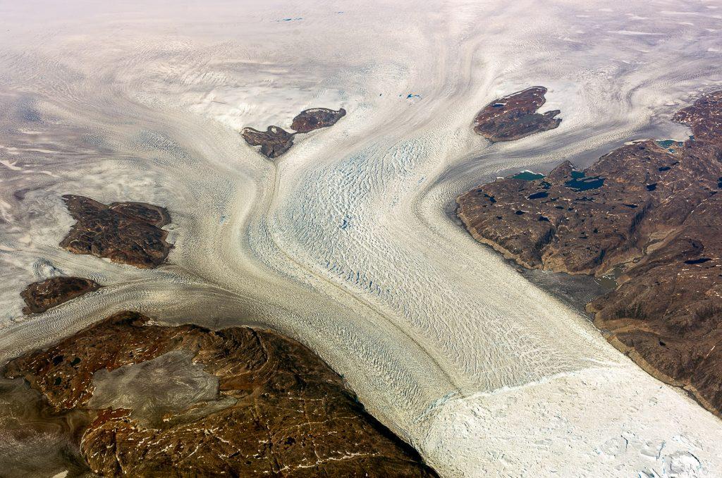 Glacier, Greenland, aerial image